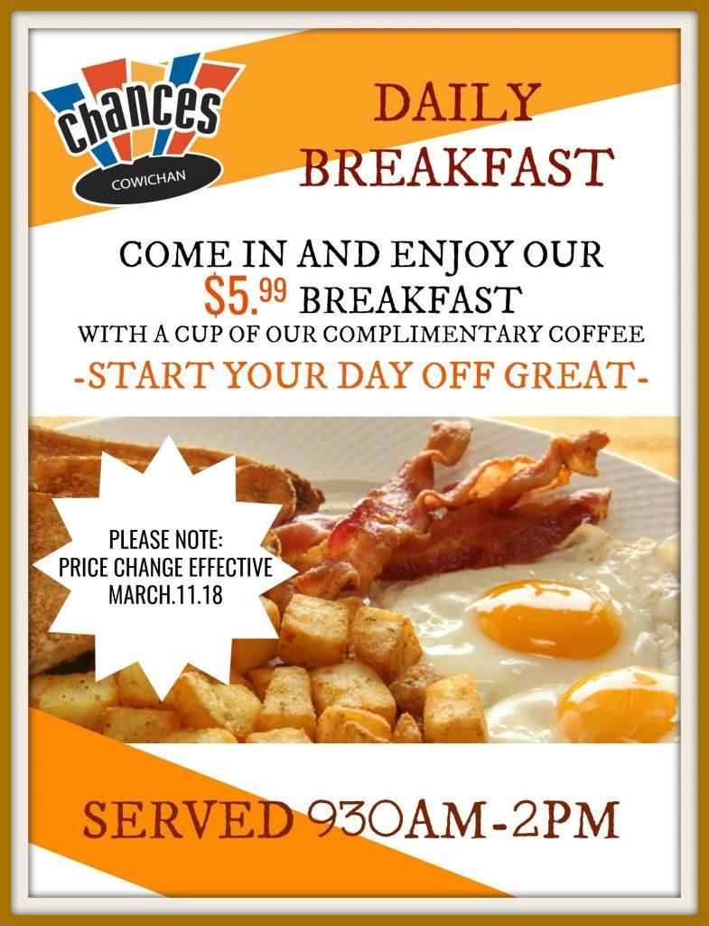 $5.99 breakfast PRICE CHANGE